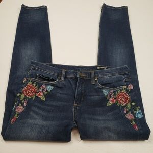 BlankNYC embroidered and distressed skinny jeans